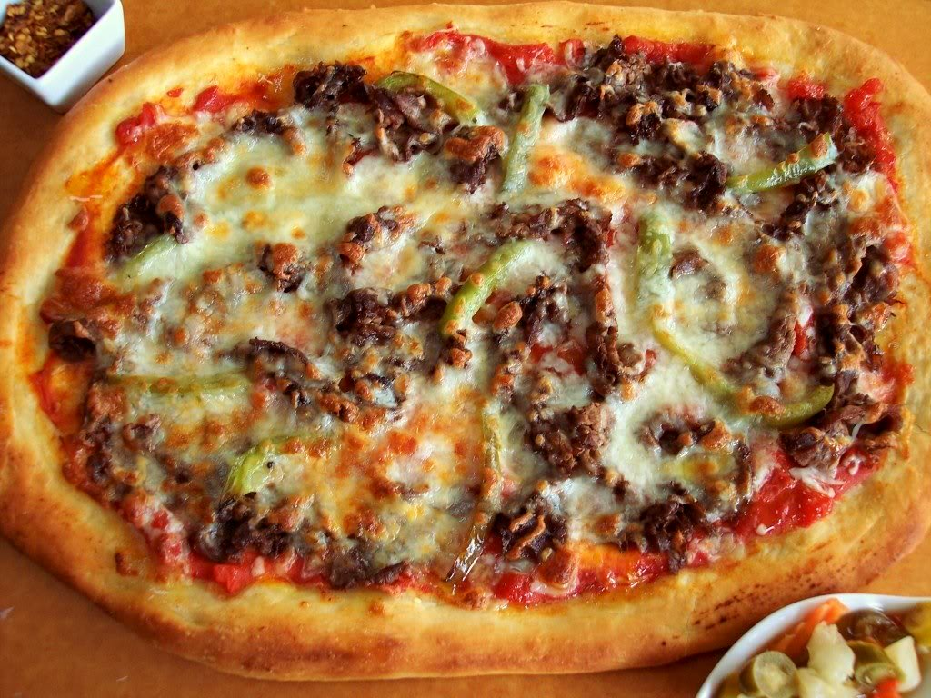 chicago style  italian beef pizza