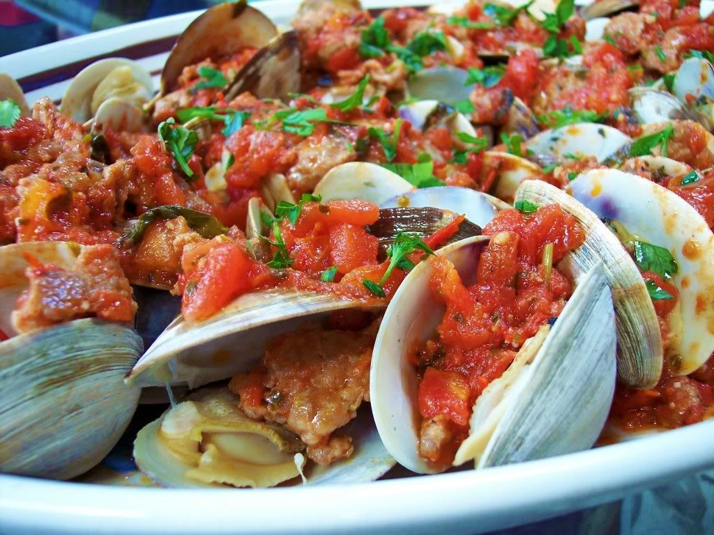 tomato sauce can be made ahead of time and heated up while the clams ...