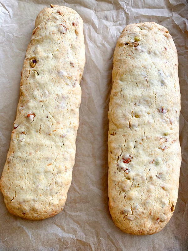 baked biscotti logs