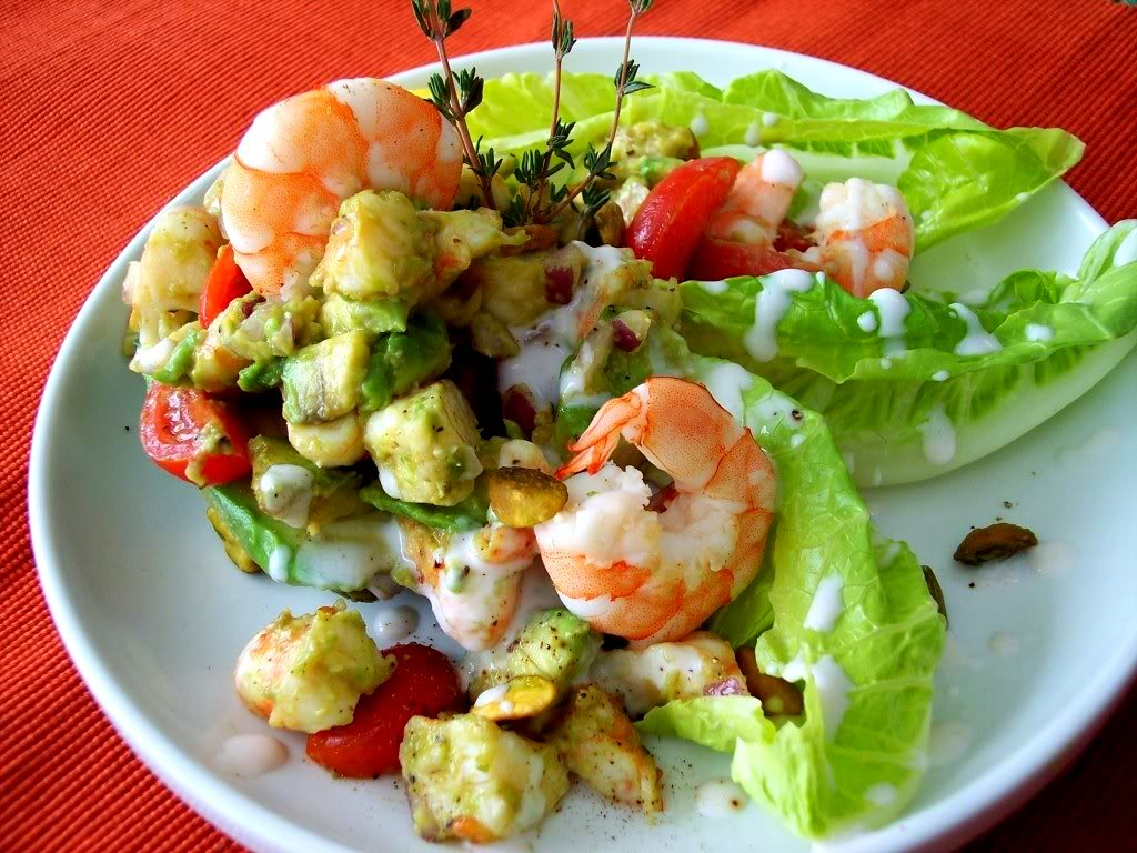 Shrimp, Avocado, And Red Pepper Salad Recipe — Dishmaps
