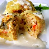 Stuffed Cabbage with Basil White Wine Cream Sauce