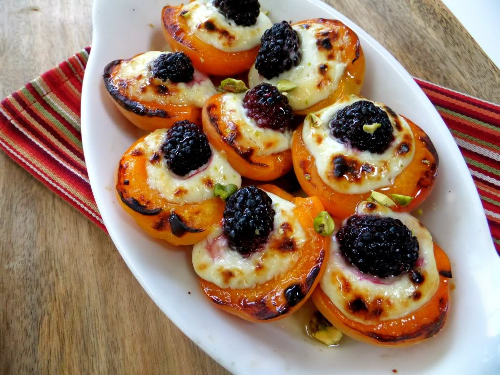 Roasted Apricots w/ Mascarpone & Blackberry Drizzled with ...