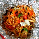 Roasted Red Pepper Sauce and Fettuccine in Foil