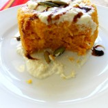 Acorn and Butternut Squash Sformato with Parmesan Cream and Balsamic Glaze