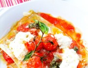 Little Lasagnas with Tomato, Burrata and Pesto