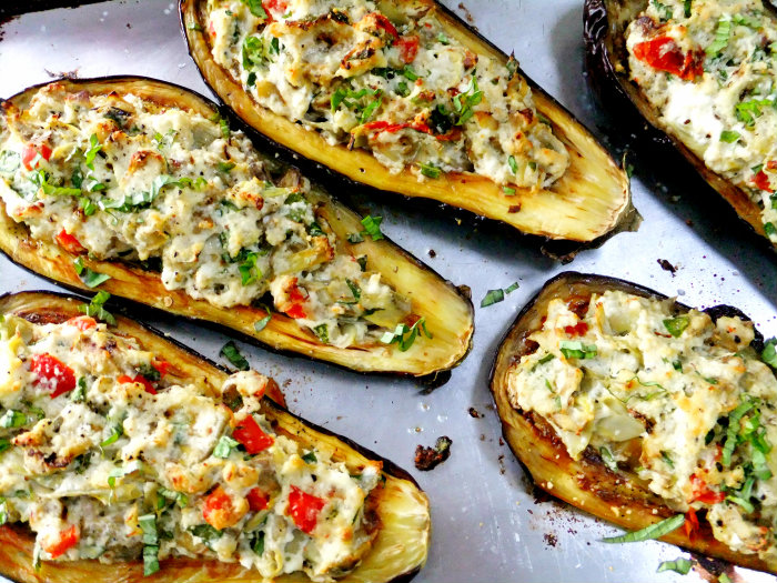 Stuffed Eggplant with Ricotta, Spinach and Artichoke ...