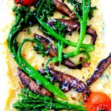 Creamy Warm Polenta with Broccoli Rabe, Mushrooms and Roasted Tomatoes