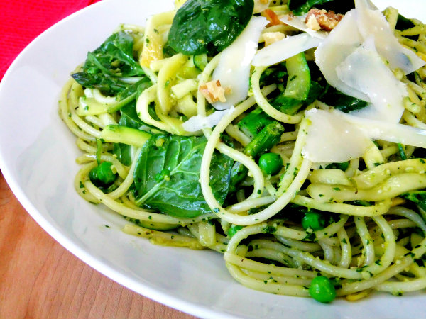 Spring Green Pasta with Parsley Walnut Pesto - Proud Italian Cook