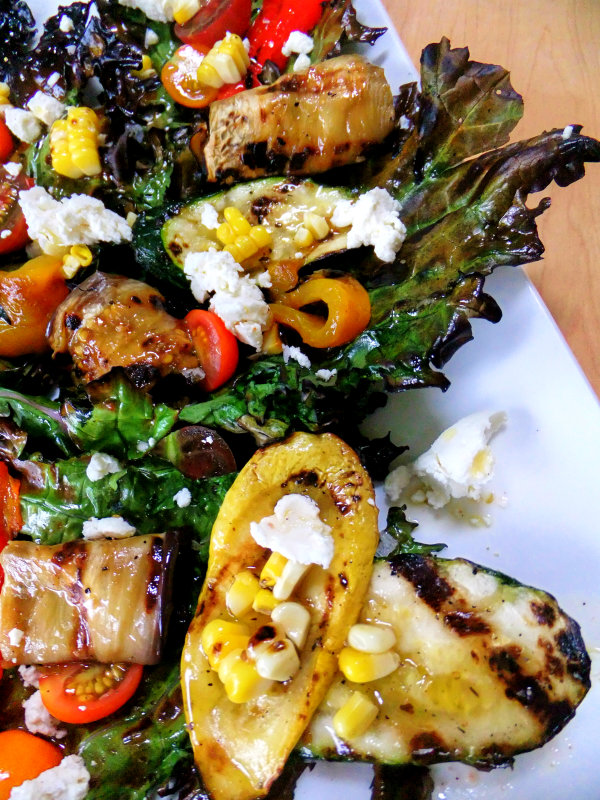 grilled kale with grilled veggies