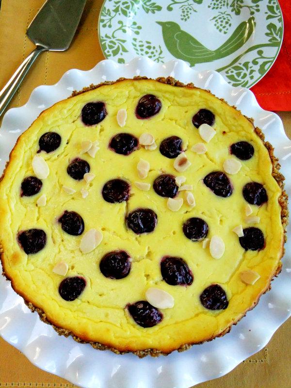 cherry studded ricotta tart