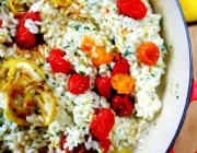 Lemon Risotto with Roasted Cherry Tomatoes