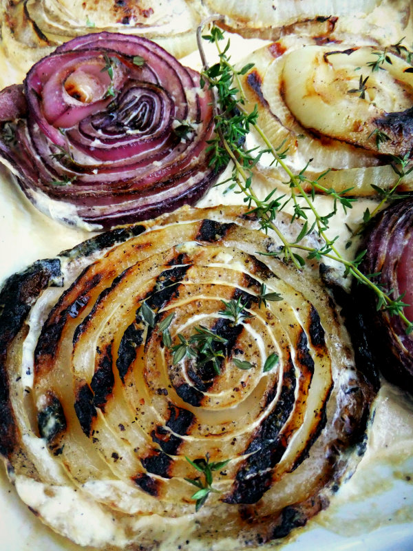 Grilled Onions with Thyme and Cream - Proud Italian Cook