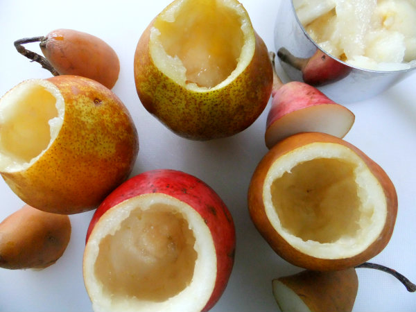 hollowed out pears