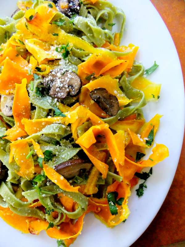 squash ribbons with tagliatelle