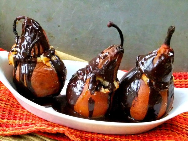chocolate coated pears
