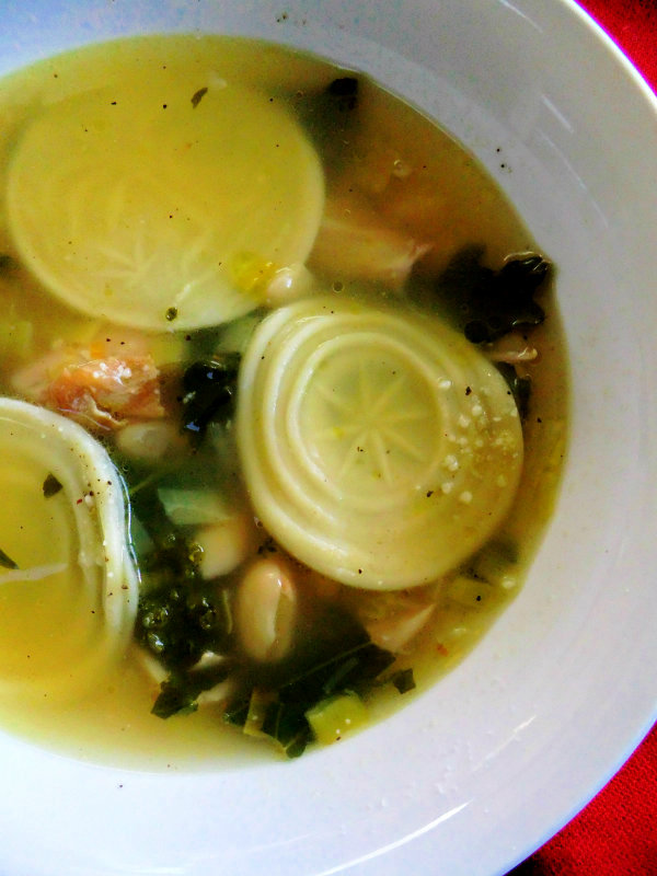turkey soup with corzetti pasta