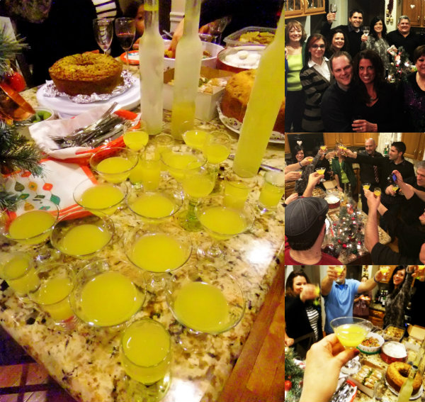 toasting with homemade limoncello