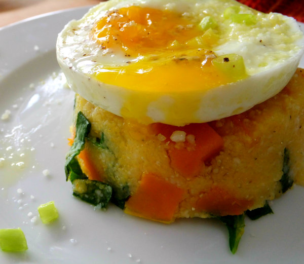 butternut squash polenta with poached egg
