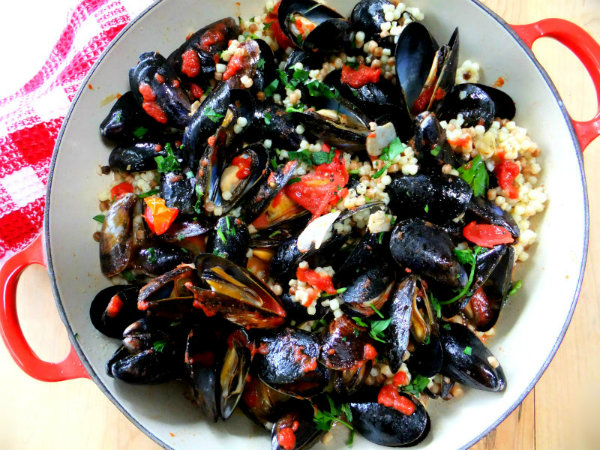 Mussels With Israeli Couscous And Tomatoes Recipes — Dishmaps