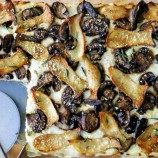 King Oyster and Crimini Three Cheese Mushroom Tart