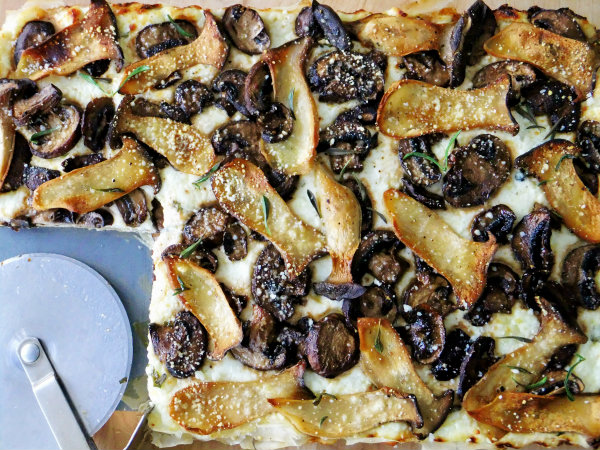three cheese mushroom tart