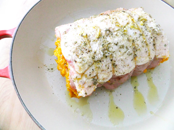 pork loin tied and stuffed with butternut squash