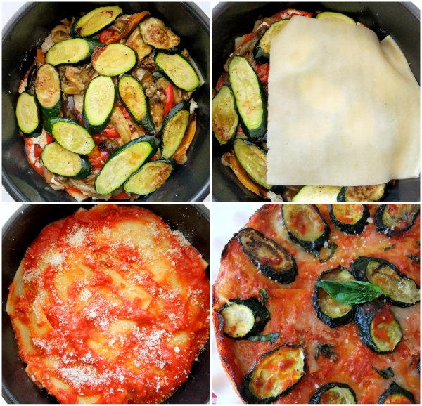 Making a round veggie lasagna