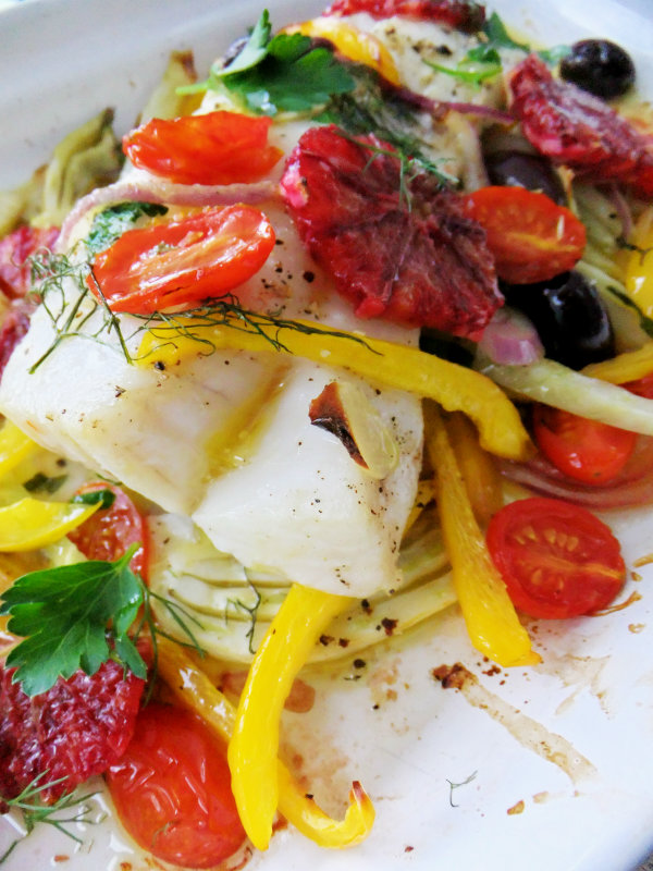 baked cod with blood orange and fennel