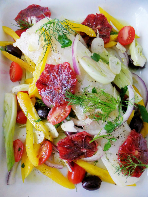 cod with blood orange and fennel
