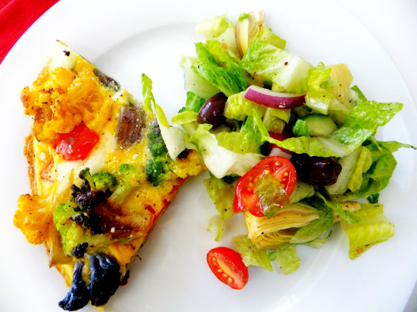colored cauliflower frittata