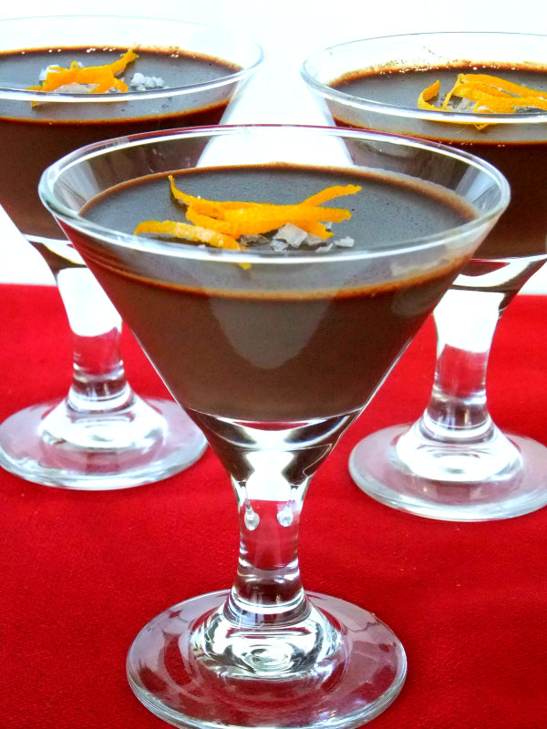 dark chocolate panna cotta with orange