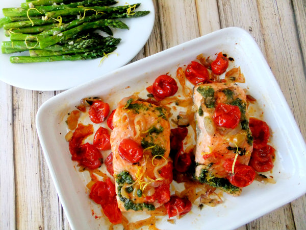 salmon with roasted tomatoes and shallots