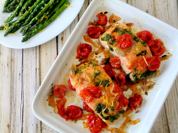 Roasted salmon archives proud italian cook salmon with roasted tomatoes and shallots ccuart Choice Image