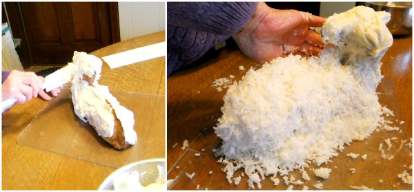applying coconut on a lamb cake