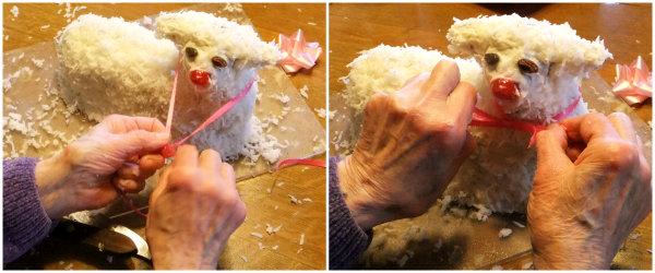 decorating an Easter lamb cake