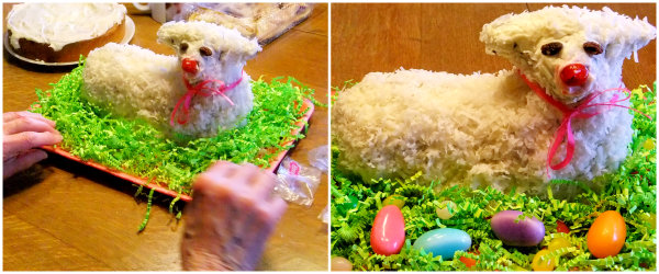 decorating an Easter lamb cake