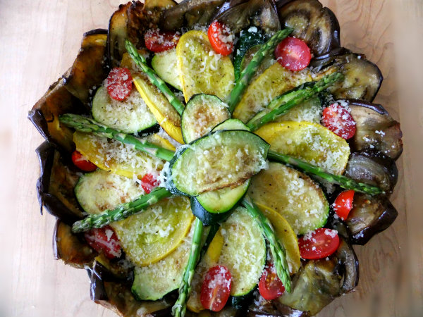 vegetable tart with eggplant crust