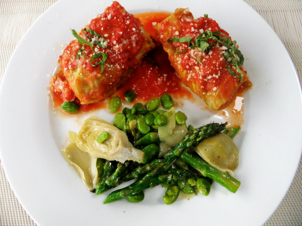 pork and cabbage involtini with spring veggies