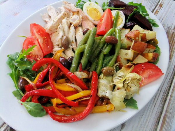 ... Nicoise salad, well I swapped out chicken for the tuna and used other