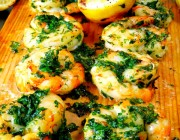Cedar Planked Shrimp with Parsley Pesto Sauce