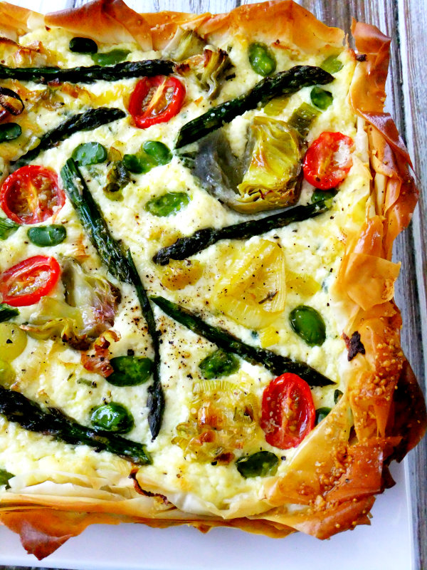spring vegetable ricotta tart