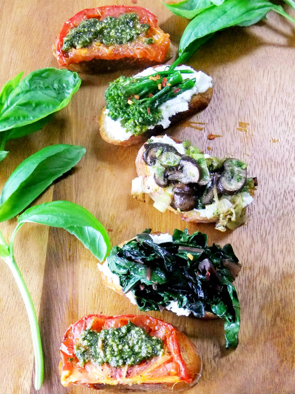 crostini with garden harvest