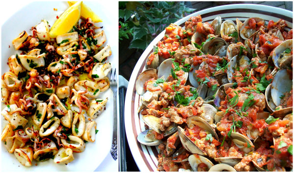 grilled clams and squid