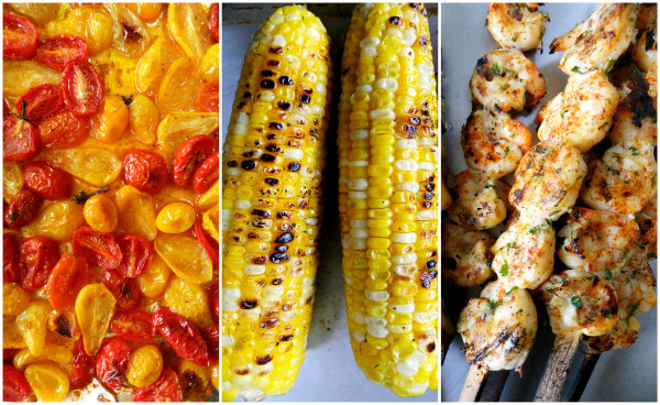 ingredients for polenta with grilled corn