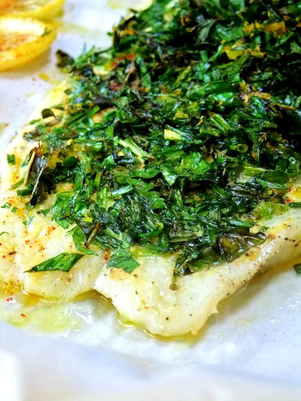 herb covered fish