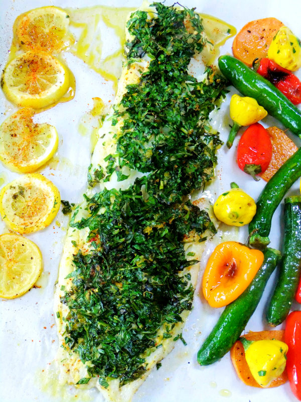 herb covered cod with roasted veggies