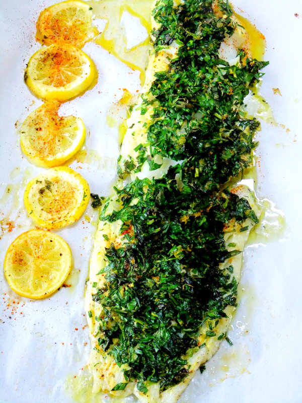 herb covered cod