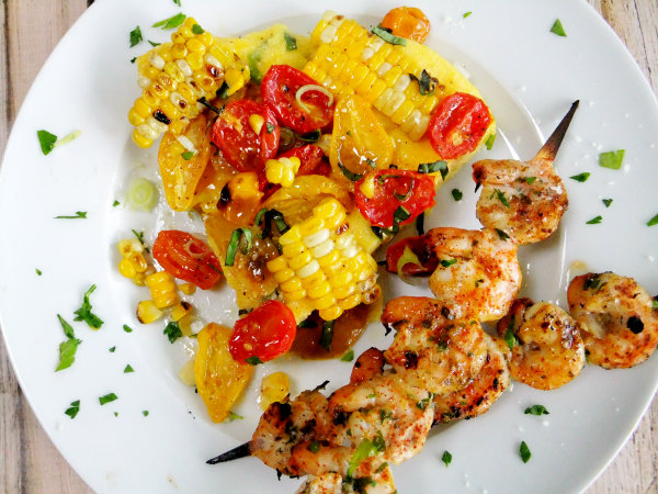 polenta with grilled corn and roasted tomatoes
