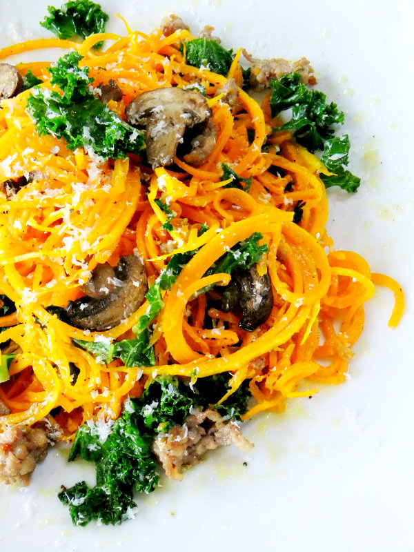 Butternut Squash Noodles with Sausage, Mushrooms and Kale - Proud Italian Cook