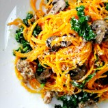 Butternut Squash Noodles with Sausage, Mushrooms and Kale